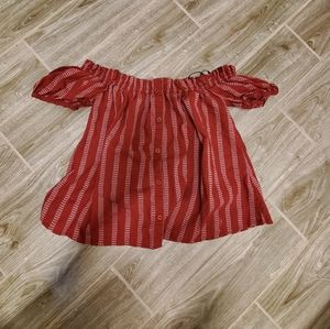 Off the shoulder red striped button up